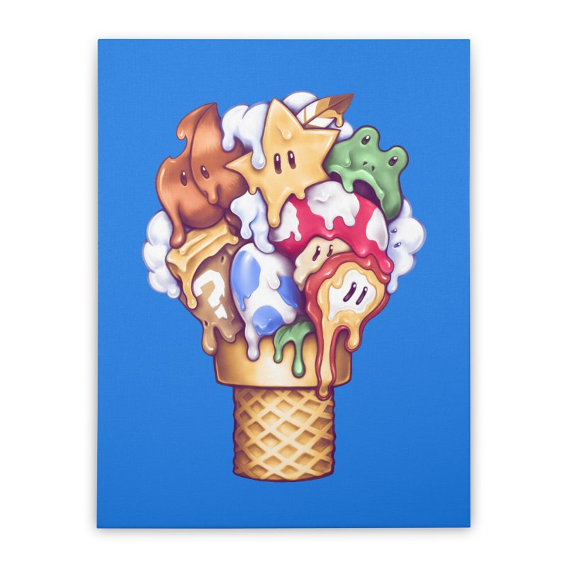 Ice Cream Power Up Home Stretched Canvas by c0y0te7's Artist Shop