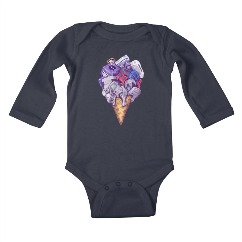 Ice Cream Nintendo Consoles Kids Baby Longsleeve Bodysuit by c0y0te7's Artist Shop