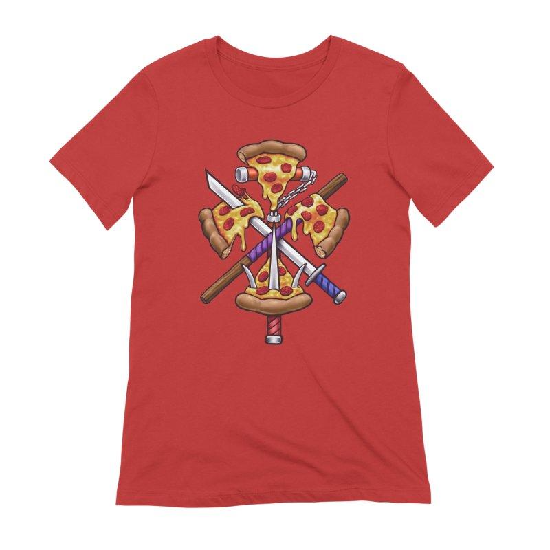 Ninja Pizza Women's Extra Soft T-Shirt by c0y0te7's Artist Shop