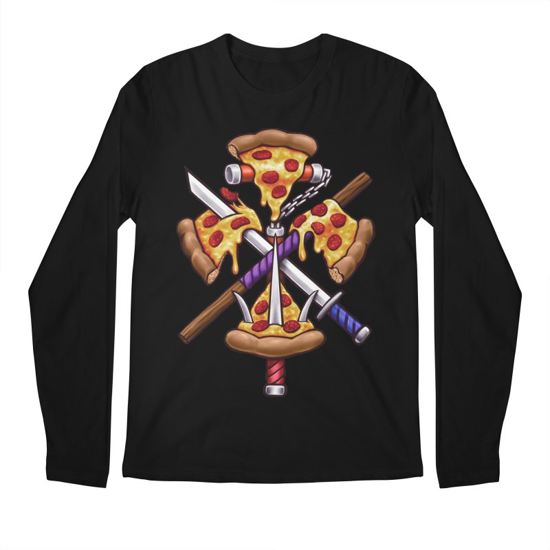 Ninja Pizza Men's Regular Longsleeve T-Shirt by c0y0te7's Artist Shop