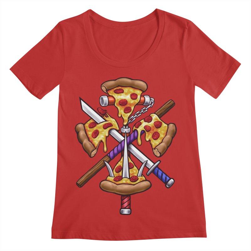 Ninja Pizza Women's Regular Scoop Neck by c0y0te7's Artist Shop