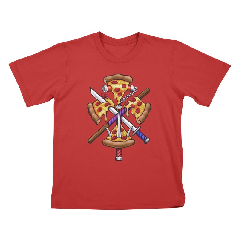 Ninja Pizza Kids T-Shirt by c0y0te7's Artist Shop