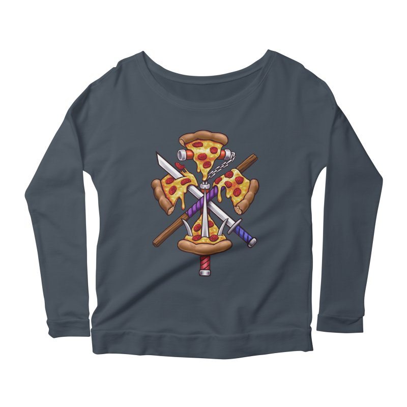 Ninja Pizza Women's Scoop Neck Longsleeve T-Shirt by c0y0te7's Artist Shop