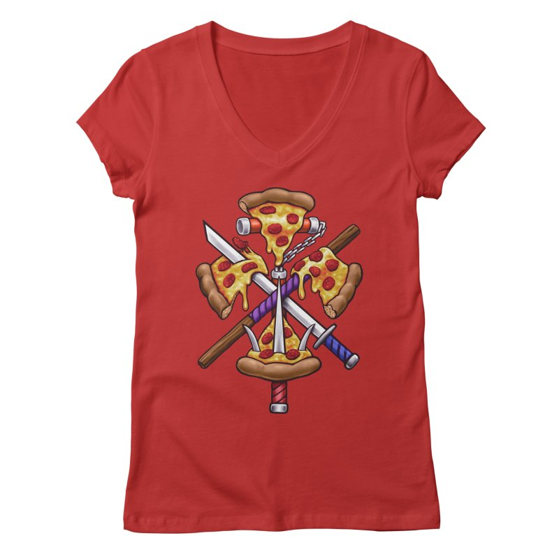Ninja Pizza Women's Regular V-Neck by c0y0te7's Artist Shop
