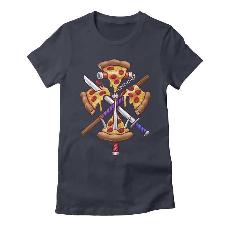 Ninja Pizza Women's Fitted T-Shirt by c0y0te7's Artist Shop