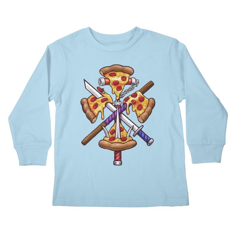 Ninja Pizza Kids Longsleeve T-Shirt by c0y0te7's Artist Shop