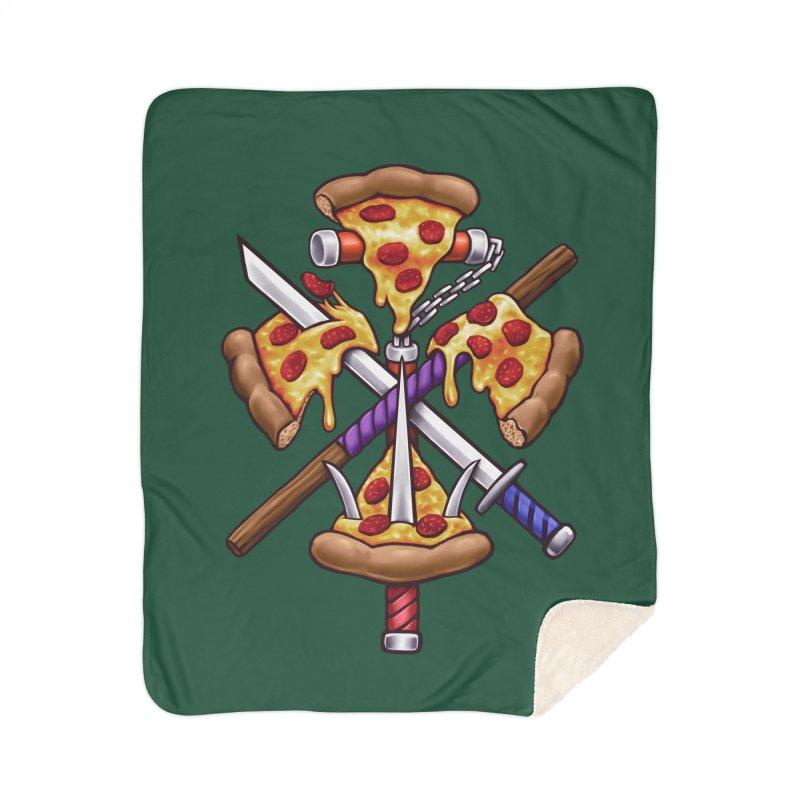 Ninja Pizza Home Sherpa Blanket Blanket by c0y0te7's Artist Shop