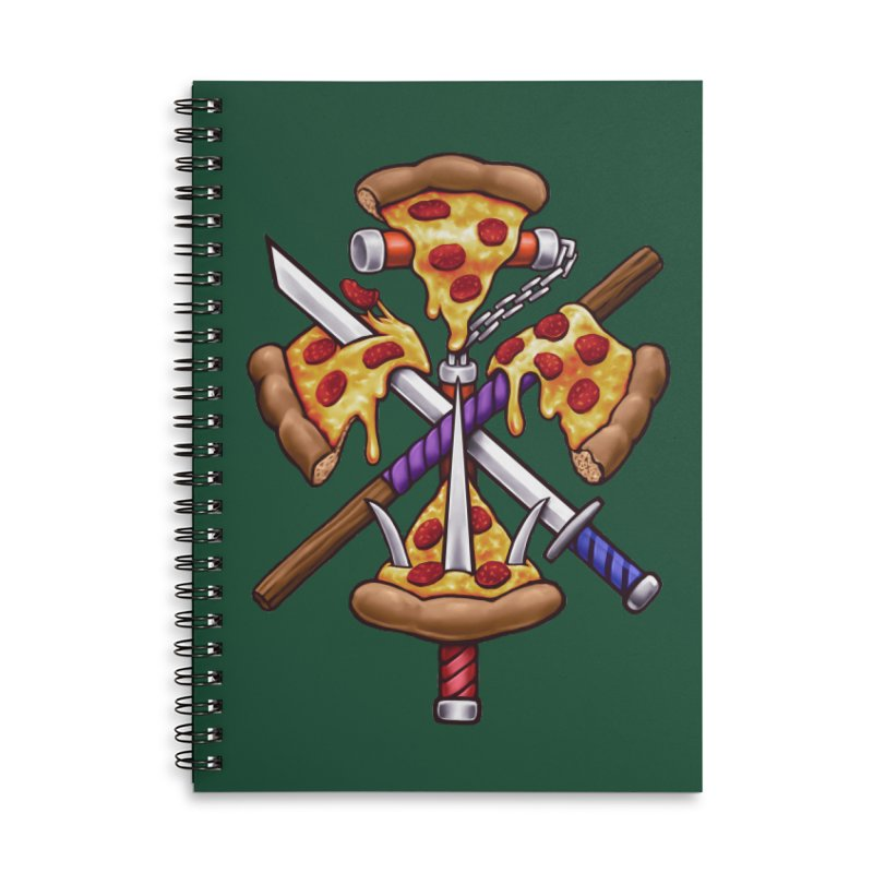 Ninja Pizza Accessories Lined Spiral Notebook by c0y0te7's Artist Shop