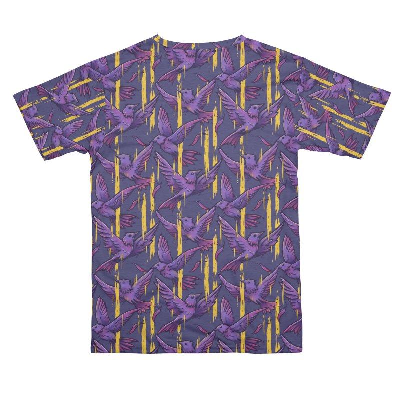 Purple Birds In Golden Rain Women's Cut & Sew by c0y0te7's Artist Shop