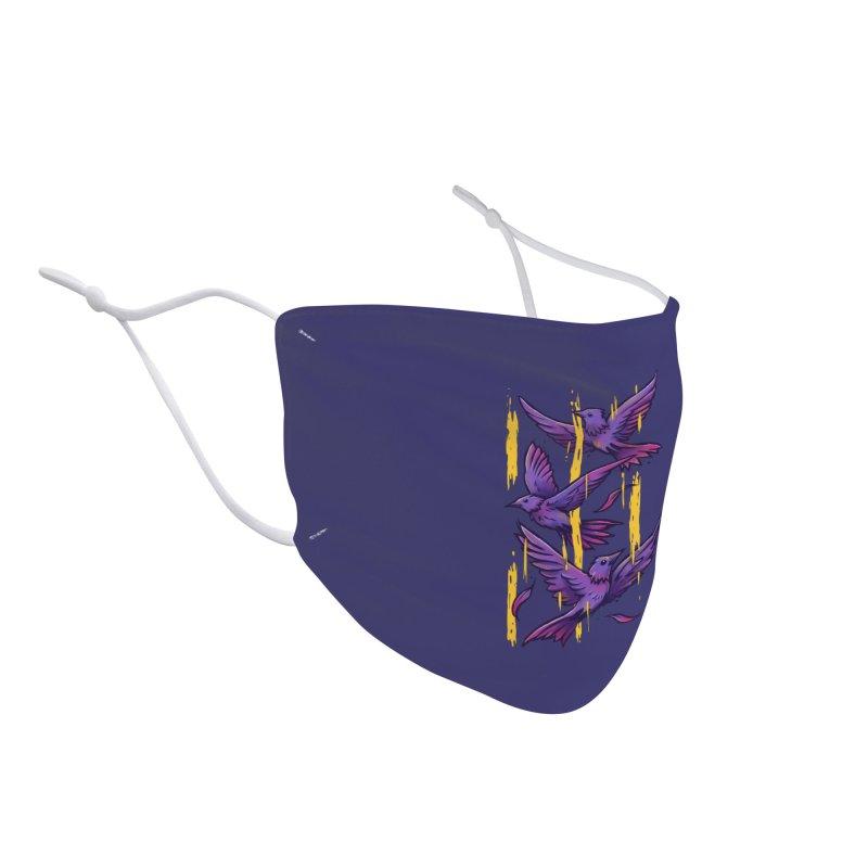 Purple Birds In Golden Rain Accessories Face Mask by c0y0te7's Artist Shop
