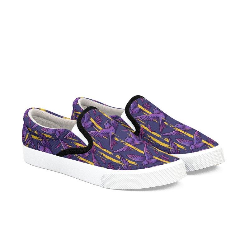 Purple Birds In Golden Rain Men's Slip-On Shoes by c0y0te7's Artist Shop