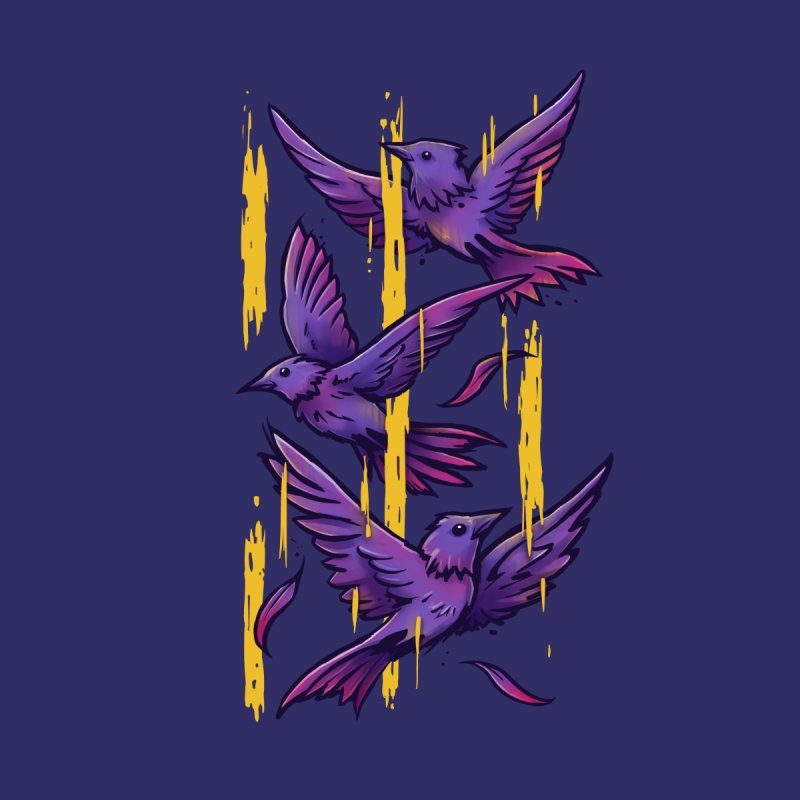 Purple Birds In Golden Rain Women's V-Neck by c0y0te7's Artist Shop