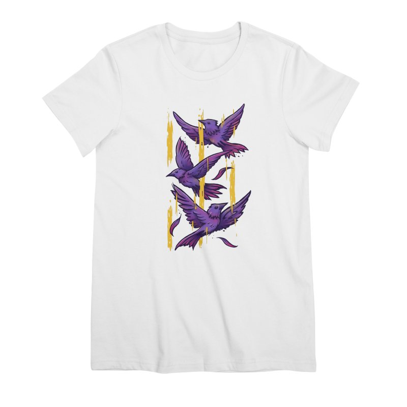 Purple Birds In Golden Rain Women's Premium T-Shirt by c0y0te7's Artist Shop