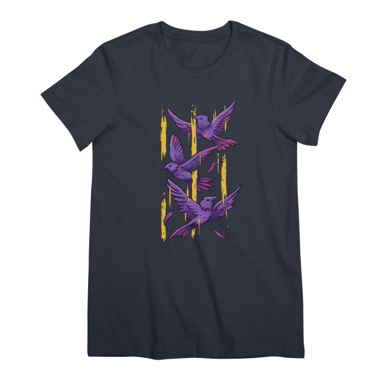 Purple Birds In Golden Rain Women's Premium T-Shirt by c0y0te7's Artist Shop