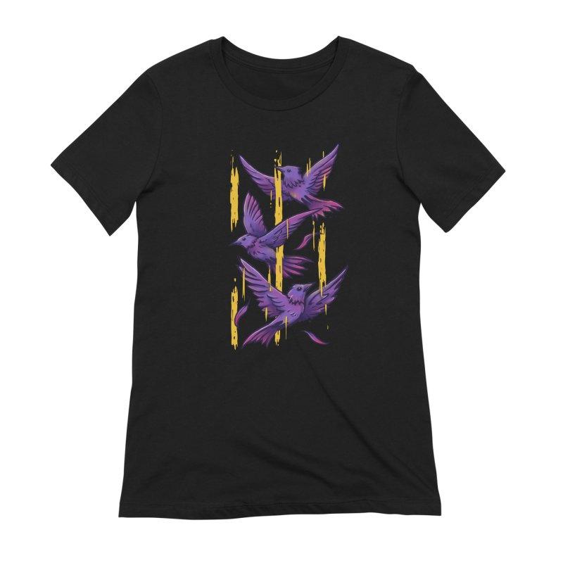 Purple Birds In Golden Rain Women's Extra Soft T-Shirt by c0y0te7's Artist Shop