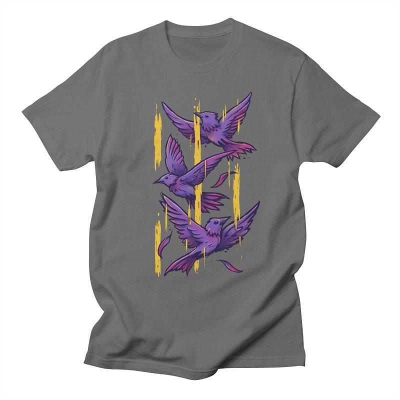 Purple Birds In Golden Rain Men's T-Shirt by c0y0te7's Artist Shop