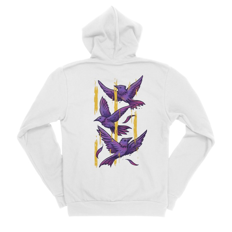 Purple Birds In Golden Rain Women's Sponge Fleece Zip-Up Hoody by c0y0te7's Artist Shop