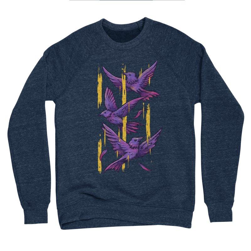 Purple Birds In Golden Rain Men's Sponge Fleece Sweatshirt by c0y0te7's Artist Shop