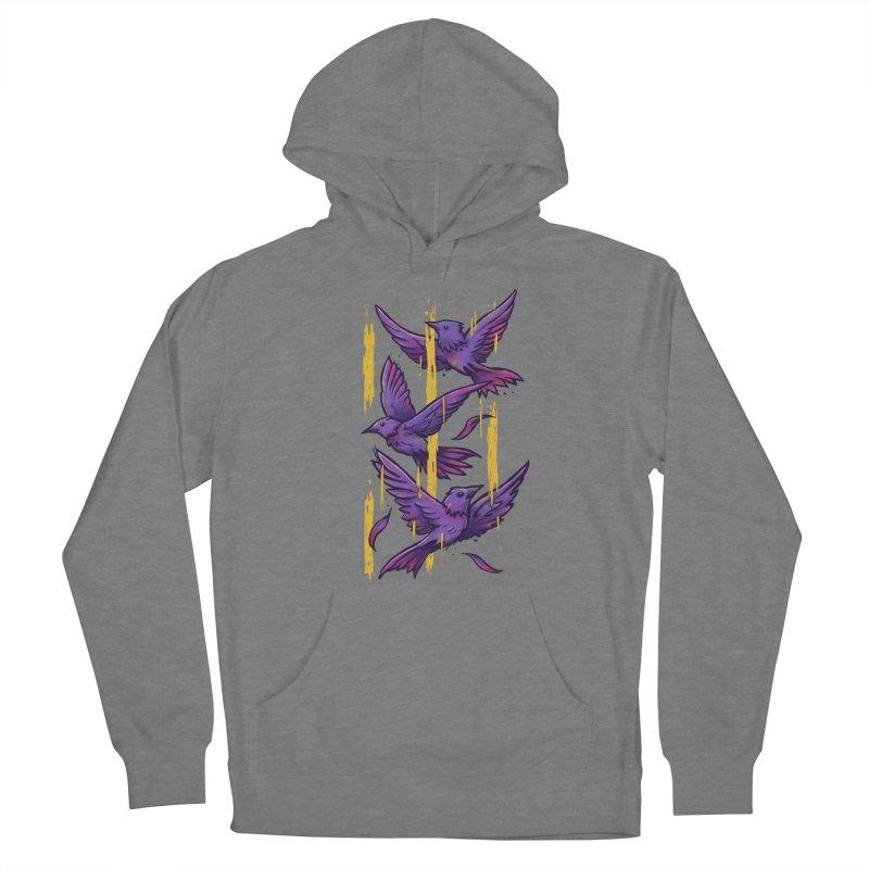 Purple Birds In Golden Rain Women's Pullover Hoody by c0y0te7's Artist Shop