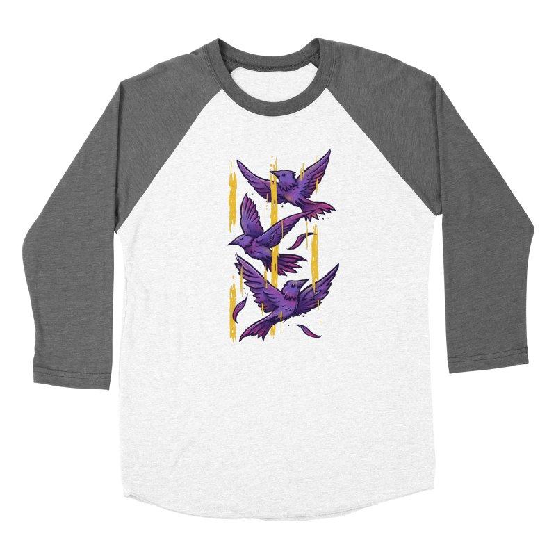 Purple Birds In Golden Rain Women's Longsleeve T-Shirt by c0y0te7's Artist Shop