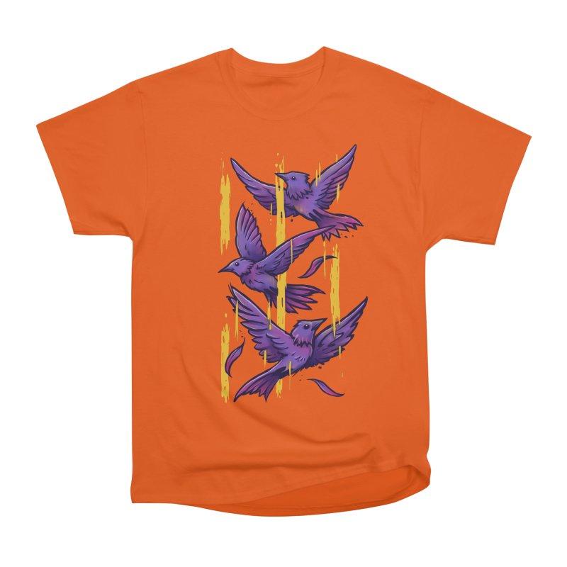 Purple Birds In Golden Rain Women's Heavyweight Unisex T-Shirt by c0y0te7's Artist Shop