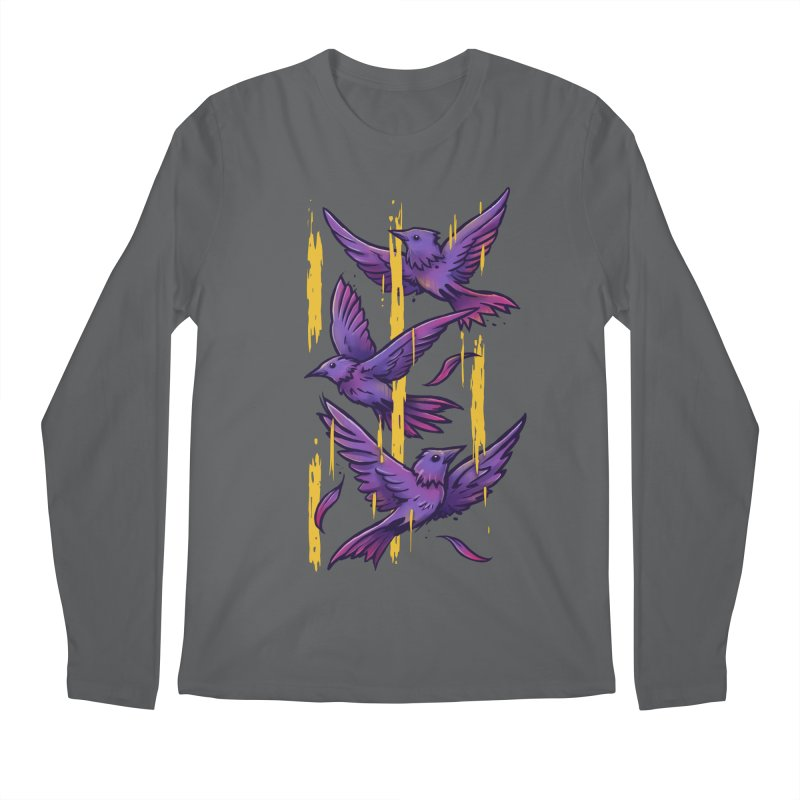 Purple Birds In Golden Rain Men's Regular Longsleeve T-Shirt by c0y0te7's Artist Shop