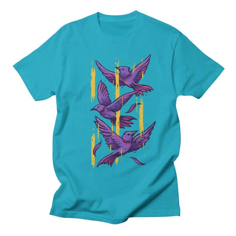 Purple Birds In Golden Rain Men's Regular T-Shirt by c0y0te7's Artist Shop