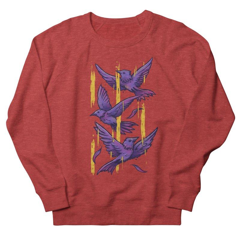 Purple Birds In Golden Rain Women's French Terry Sweatshirt by c0y0te7's Artist Shop