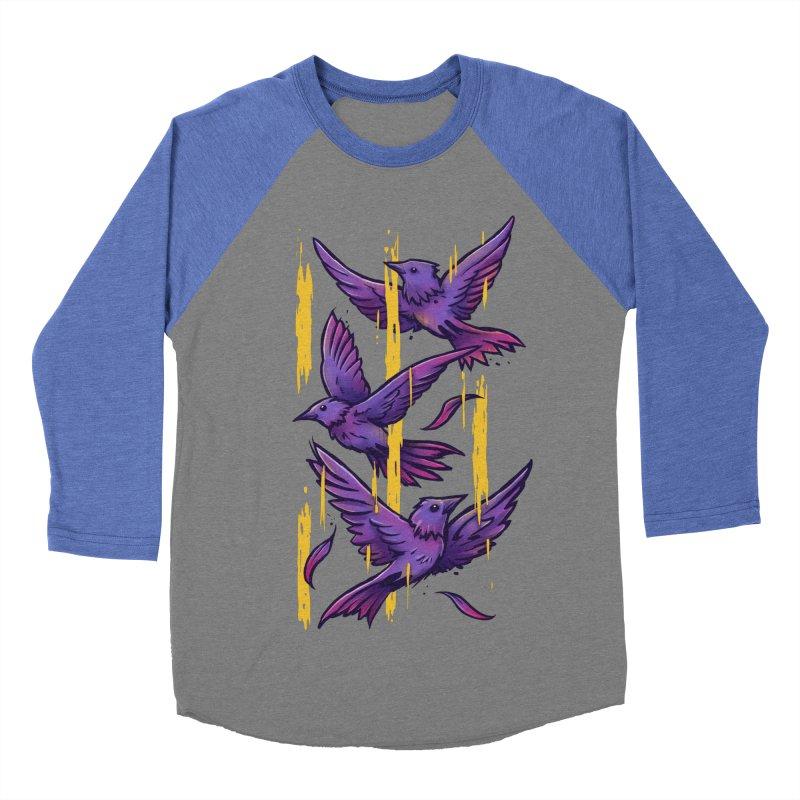 Purple Birds In Golden Rain Women's Baseball Triblend Longsleeve T-Shirt by c0y0te7's Artist Shop
