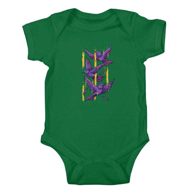 Purple Birds In Golden Rain Kids Baby Bodysuit by c0y0te7's Artist Shop