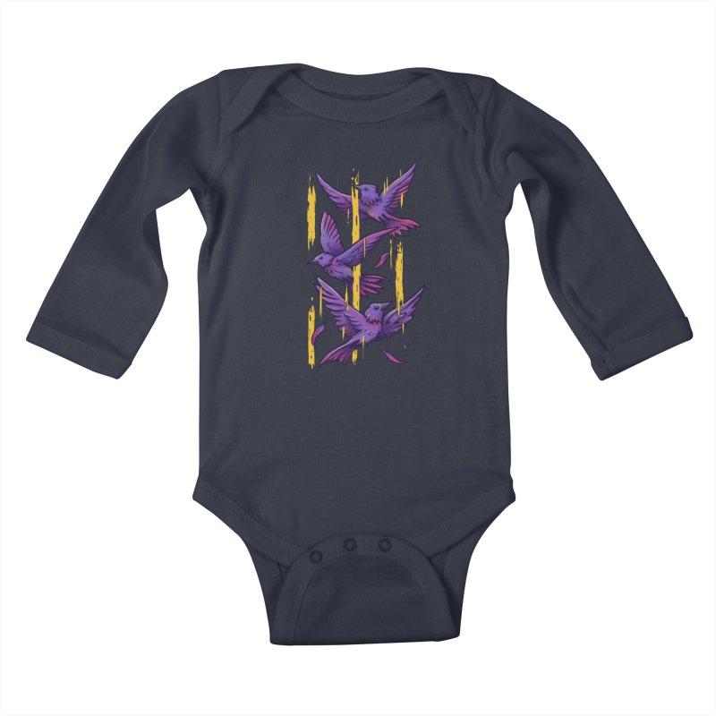 Purple Birds In Golden Rain Kids Baby Longsleeve Bodysuit by c0y0te7's Artist Shop