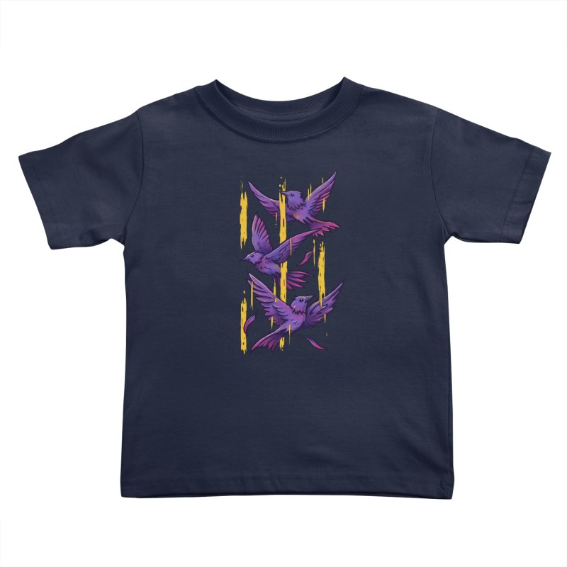 Purple Birds In Golden Rain Kids Toddler T-Shirt by c0y0te7's Artist Shop