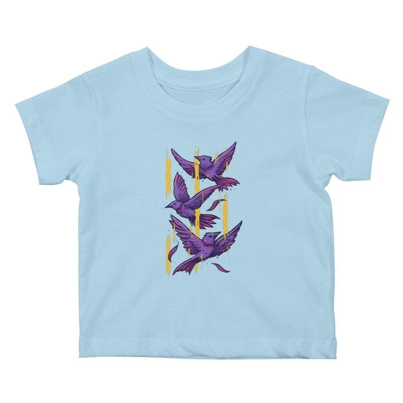Purple Birds In Golden Rain Kids Baby T-Shirt by c0y0te7's Artist Shop