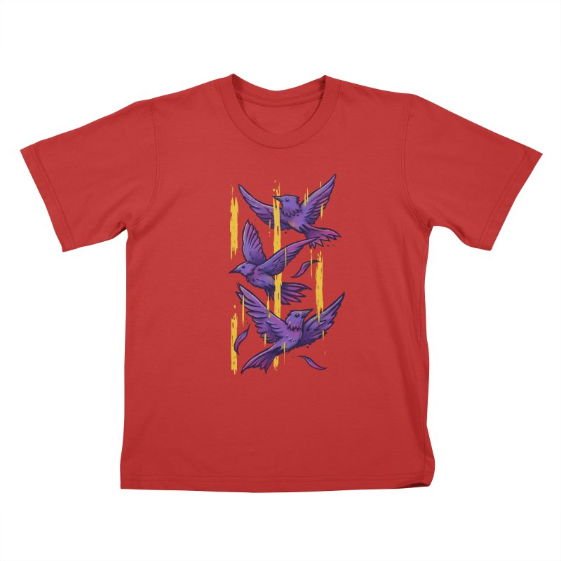 Purple Birds In Golden Rain Kids T-Shirt by c0y0te7's Artist Shop