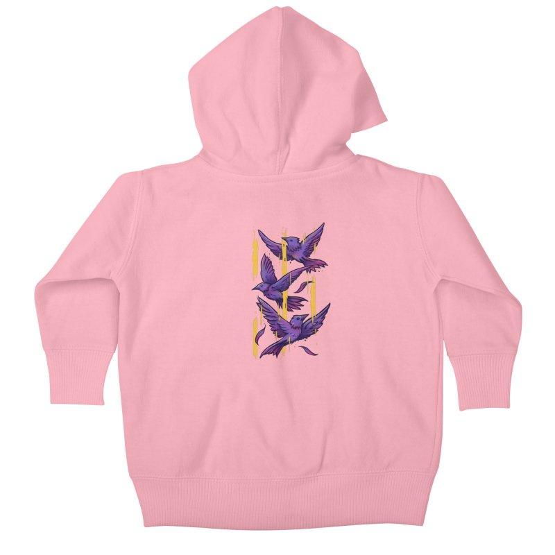Purple Birds In Golden Rain Kids Baby Zip-Up Hoody by c0y0te7's Artist Shop