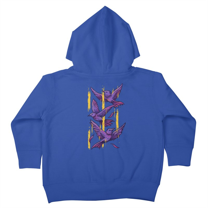 Purple Birds In Golden Rain Kids Toddler Zip-Up Hoody by c0y0te7's Artist Shop