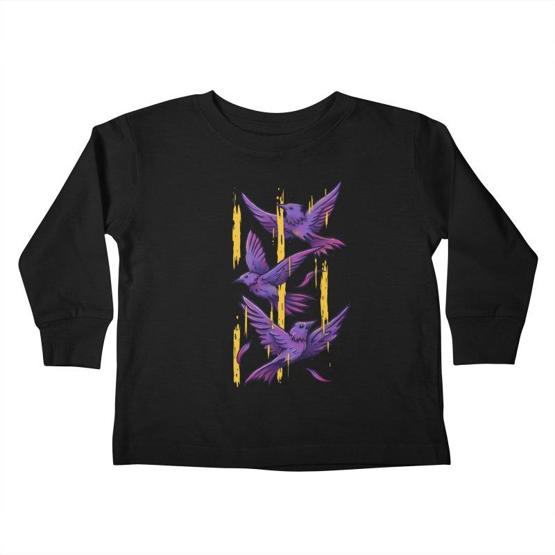 Purple Birds In Golden Rain Kids Toddler Longsleeve T-Shirt by c0y0te7's Artist Shop