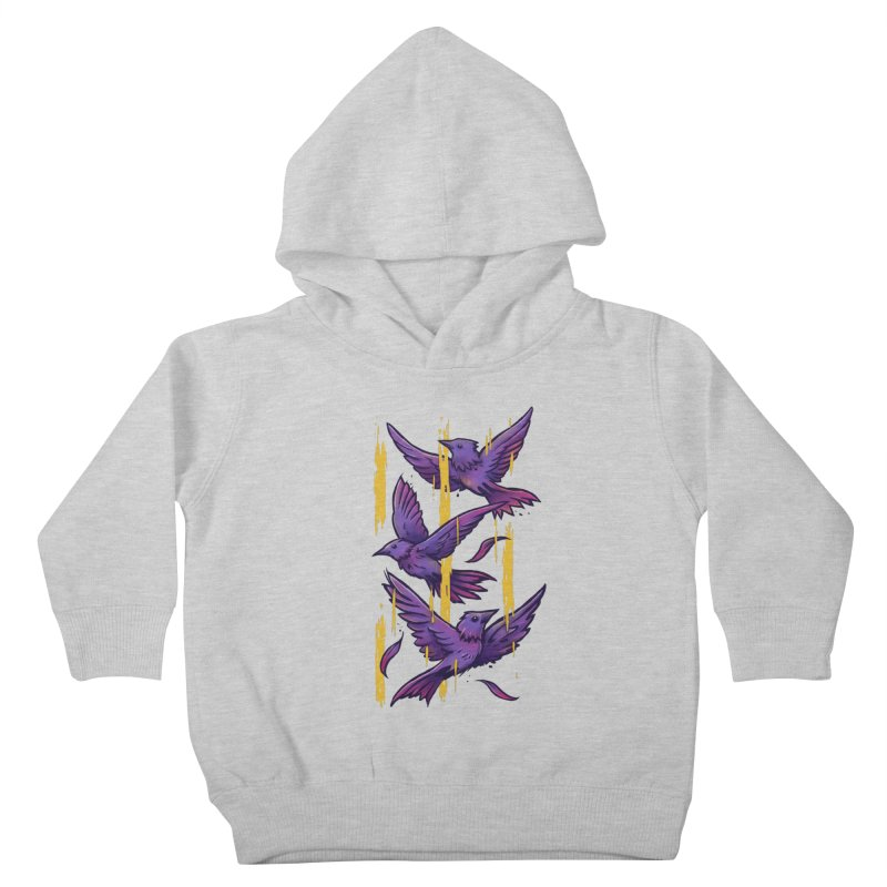 Purple Birds In Golden Rain Kids Toddler Pullover Hoody by c0y0te7's Artist Shop