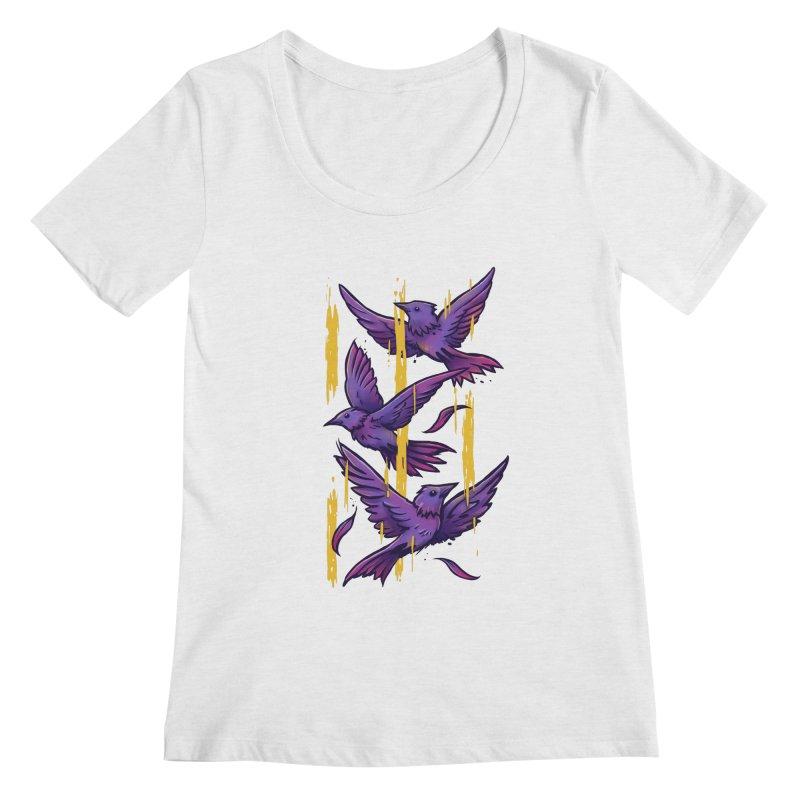 Purple Birds In Golden Rain Women's Regular Scoop Neck by c0y0te7's Artist Shop