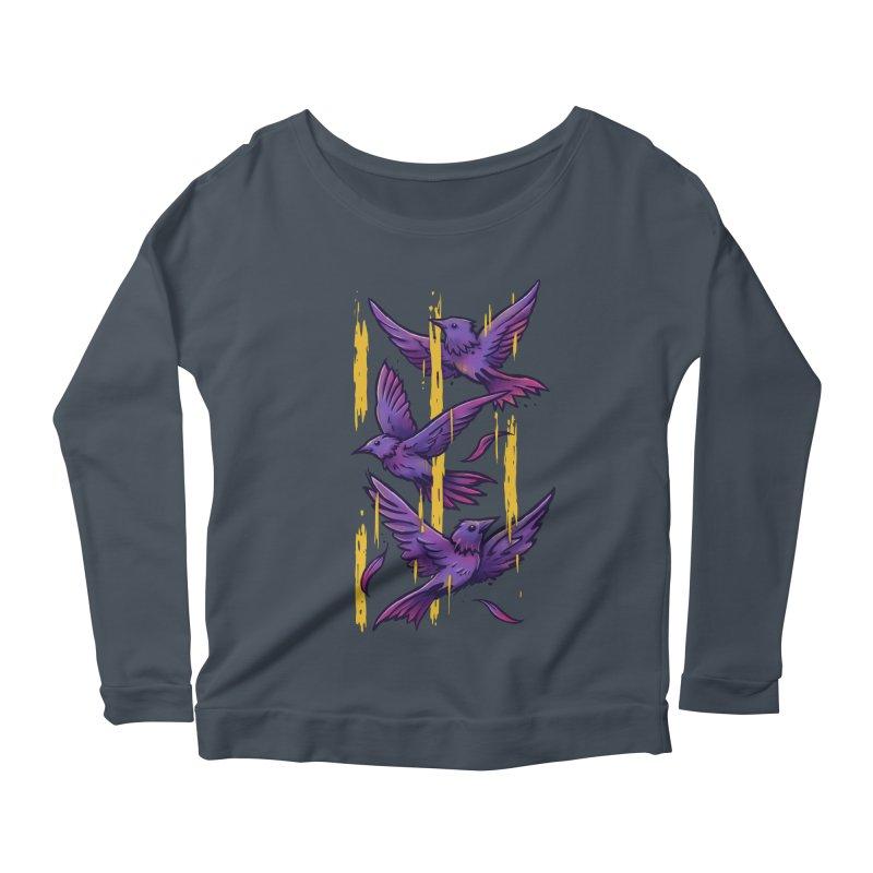 Purple Birds In Golden Rain Women's Scoop Neck Longsleeve T-Shirt by c0y0te7's Artist Shop