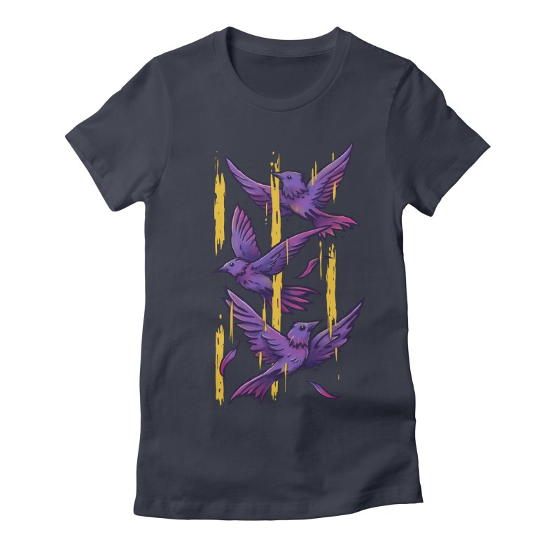 Purple Birds In Golden Rain Women's Fitted T-Shirt by c0y0te7's Artist Shop