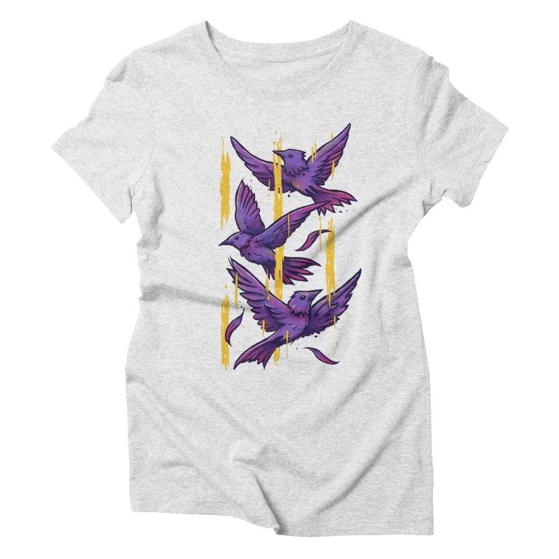 Purple Birds In Golden Rain Women's T-Shirt by c0y0te7's Artist Shop