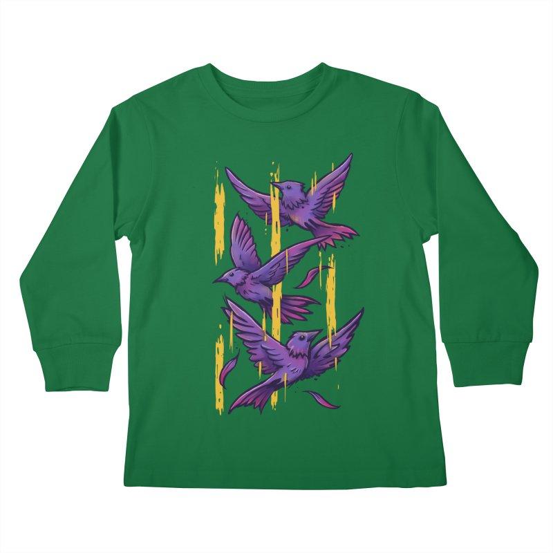 Purple Birds In Golden Rain Kids Longsleeve T-Shirt by c0y0te7's Artist Shop