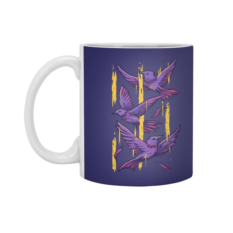Purple Birds In Golden Rain Accessories Standard Mug by c0y0te7's Artist Shop