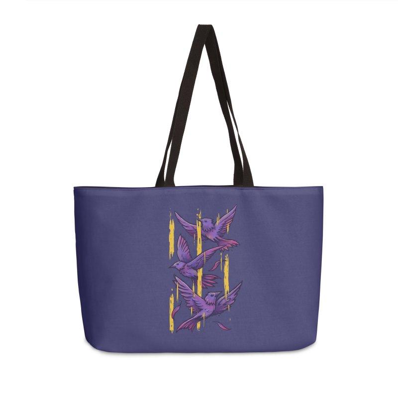 Purple Birds In Golden Rain Accessories Weekender Bag Bag by c0y0te7's Artist Shop