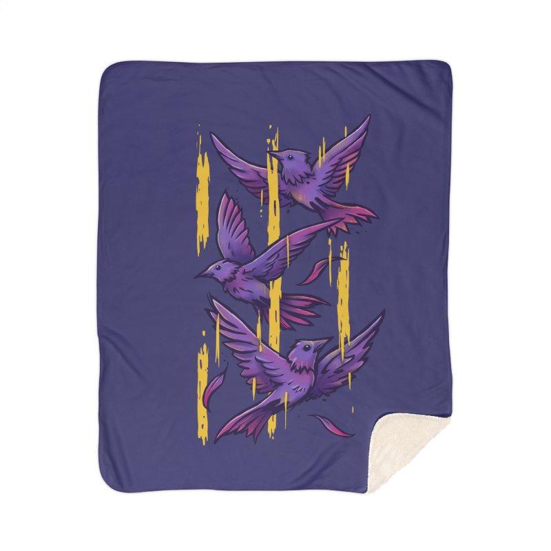 Purple Birds In Golden Rain Home Sherpa Blanket Blanket by c0y0te7's Artist Shop