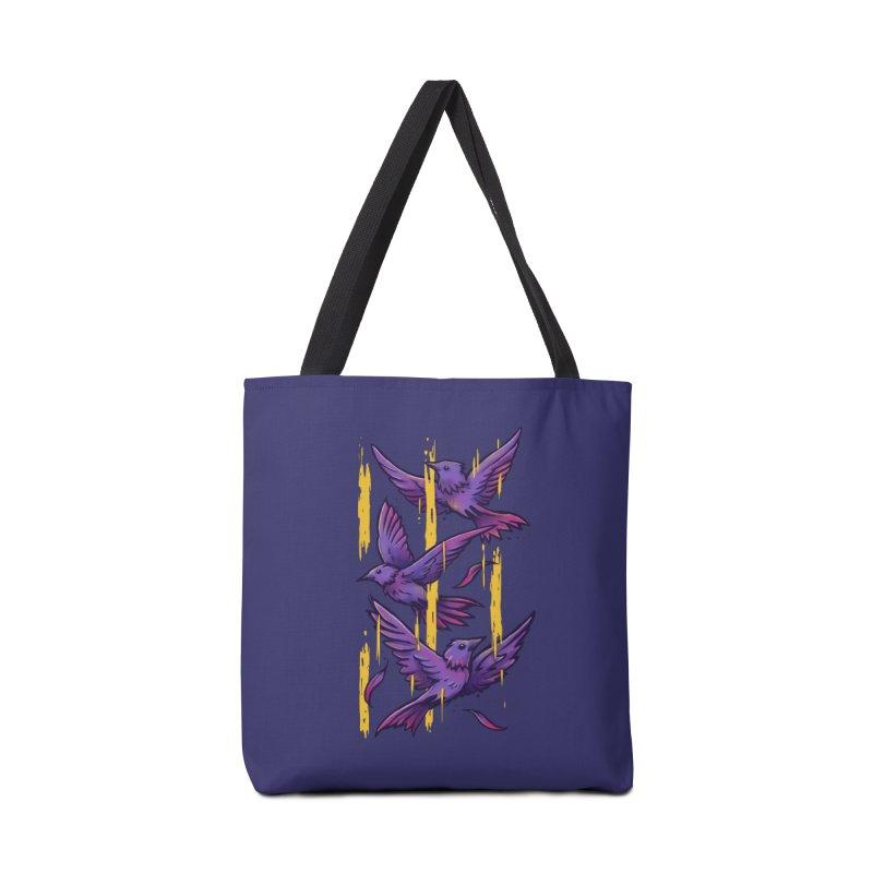 Purple Birds In Golden Rain Accessories Tote Bag Bag by c0y0te7's Artist Shop