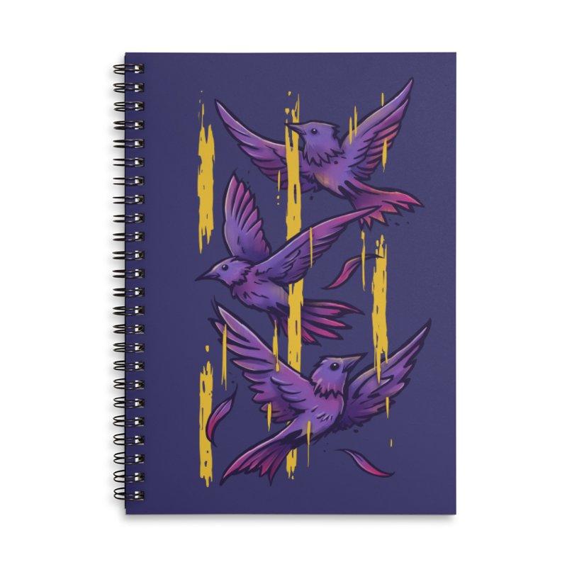 Purple Birds In Golden Rain Accessories Lined Spiral Notebook by c0y0te7's Artist Shop