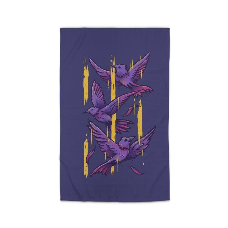 Purple Birds In Golden Rain Home Rug by c0y0te7's Artist Shop