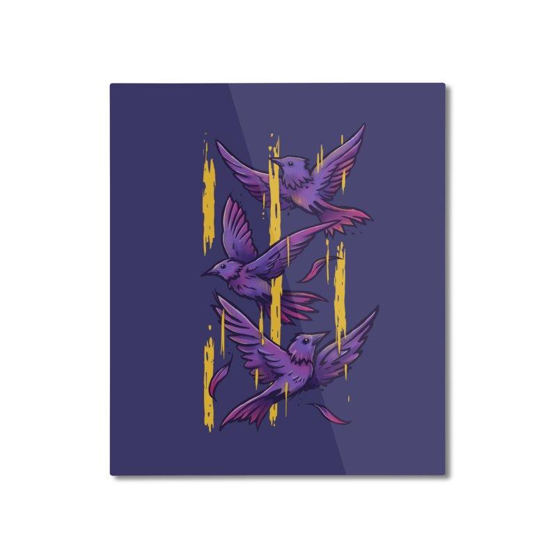 Purple Birds In Golden Rain Home Mounted Aluminum Print by c0y0te7's Artist Shop